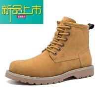 新品上市男款马丁靴男18冬季新款加绒棉鞋英伦高帮鞋男士雪地靴子男