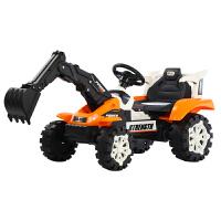 儿童挖掘机玩具车遥控推挖土机可坐可骑全电动大号男孩勾机工程车 推手+挖手4.5A电瓶蓝色 电动推挖臂 官方标配