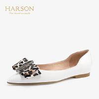 【 立减120】哈森 2019年春季新品低跟饰扣蝴蝶结单鞋 时尚内增高休闲鞋HS97158