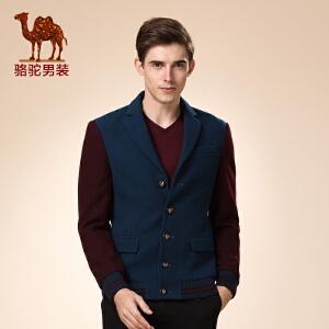 骆驼男装 新品秋款青年修身款撞色拼接商务时髦休闲长袖便西
