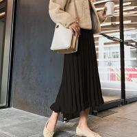 2018新款时尚 孕妇半身裙秋冬针织包臀裙子中长款潮妈百褶a字裙