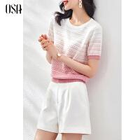 OSA渐变色短袖针织衫女夏季2021年新款小香风短款打底衫上衣薄款