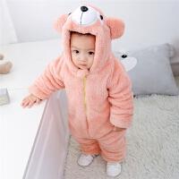 婴儿连体衣秋冬外出穿加绒夹棉加厚保暖双层拉链式动物爬爬服