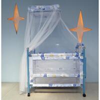 多功能婴儿床欧式新生儿童床宝宝铁床小推车摇篮床拼接大床带蚊帐
