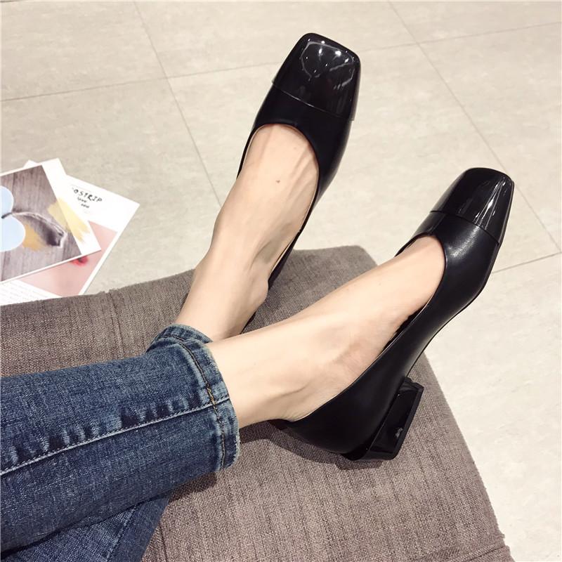 单鞋女2019春新款方头浅口拼色透明简约低跟平底鞋复古百搭豆豆鞋