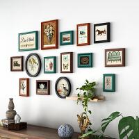 美式复古照片墙装饰画实木相框墙餐厅小背景墙相册框创意挂墙组合 多色混搭 复古鸟语