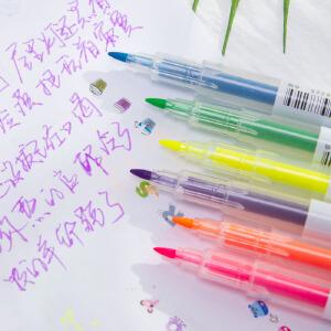 [满68包邮]得力文具s623双头荧光笔标记笔学生用糖果色记号彩色笔写字笔