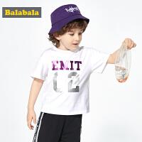 巴拉巴拉童装儿童t恤男童夏装2019新款宝宝打底衫短袖镭射印花潮