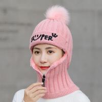 帽子女冬天针织毛线帽女士韩版潮加绒保暖骑电动车防风防寒秋冬季