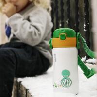日本象普儿童保温杯带吸管宝宝幼儿园水杯防摔水壶两用带手柄婴儿