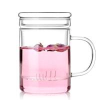 耐�岵AП� ���w�^�V透明水杯三件式套杯花茶杯茶具350ML花茶杯泡茶杯果汁杯冷�杯具水杯杯子