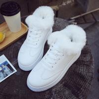 保暖女鞋潮ulzzang休闲鞋原宿风百搭板鞋冬季加绒棉韩版运动鞋ins 白色 J03K