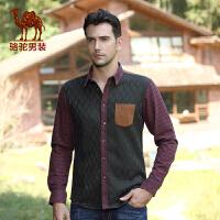 骆驼男装 青年前幅加绒加厚修身格子撞色领衬衣衬衫