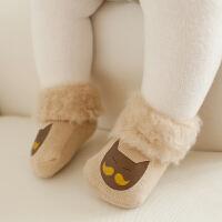男女宝宝秋冬装加厚袜子 1-3岁婴儿加绒袜子 松口翻边袜子
