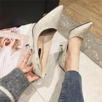 高跟鞋女2019春季新款时尚尖头浅口细跟高跟单鞋气质简约通勤单鞋