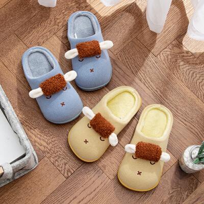 儿童棉拖鞋女可爱冬季室内毛绒家用居家防滑毛毛加绒中童棉拖男童