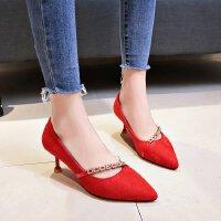 红色婚鞋浅口中跟5cm性感高跟鞋女细跟百搭少女绒面工作黑色单鞋