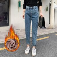新年特惠直筒牛仔裤女2019冬季新款女装韩版显瘦宽松加绒高腰老爹裤女大码