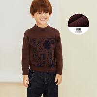 【2件88/3件8折后到手价:199.2元】马拉丁童装男童毛衣冬装新款洋气图案套头针织衫圆领毛衣