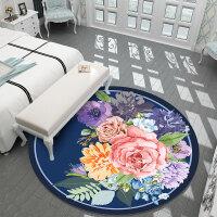 中式圆形地毯客厅复古中国风牡丹卧室床边梳妆台吊篮吊椅圆形地垫y