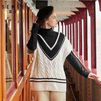森马背心女2019冬季新款无袖V领针织衫毛衣韩版宽松套头马甲女装