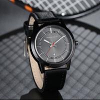手表黑色运动休闲商务防水新款 男士带日历石英手表