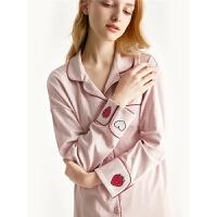 纯棉长袖睡衣女夏大码套装可爱草莓春秋季开衫女士家居服