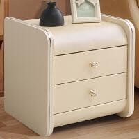 床头柜简约现代收纳柜实木卧室储物柜简易迷你皮质整装 米黄色 床头柜 整装
