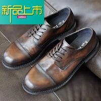 新品上市美式复古手工真皮男士三接头休闲皮鞋透气圆头软皮商务牛皮男鞋
