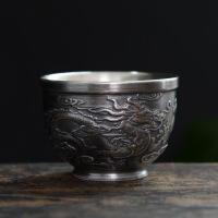 银杯子999纯银茶杯纯手工紫砂功夫茶具家用陶瓷内胆鎏银主人杯银