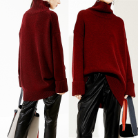 高领女装纯羊绒中长款慵懒针织套头衫宽松加厚大码显瘦衣