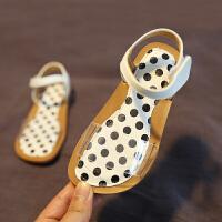 童鞋女童公主鞋露趾夏凉鞋幼儿宝宝凉鞋中童沙滩鞋小孩豹纹鞋