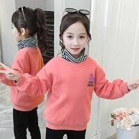 儿童卫衣 女童加绒加厚卫衣2019冬季新款韩版恐龙加绒上衣女童中大童条纹高领套头衫