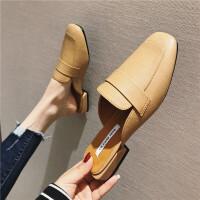 拖鞋女2019春季新款女鞋包头休闲粗跟穆勒拖韩版时尚百搭复古学生