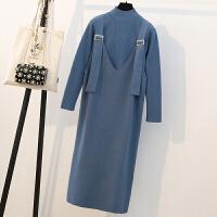 新年特惠大码女装秋冬新款洋气套装胖mm显瘦减龄套装裙心机时髦针织连衣裙