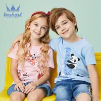 【3件3折:50元】souhait水孩儿童装夏季新款圆领衫儿童T恤亲子款短袖T恤SHNXND15CT679