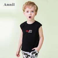 【3件3折:29.7】安奈儿童装男小童背心夏装新款儿童纯棉圆领无袖T恤打底衫潮