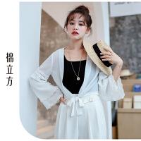 长袖白色雪纺衫小衫女春秋季2019新款棉立方洋气很仙的上衣百搭潮