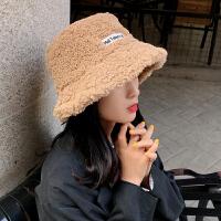 韩版百搭羊羔毛绒渔夫帽子女秋冬日系复古保暖护耳盆帽潮