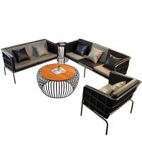 北欧布艺沙发组合日式客厅沙发转角 沙发奶茶店咖啡厅工业风办公简易北欧懒人铁艺沙发茶几组合套