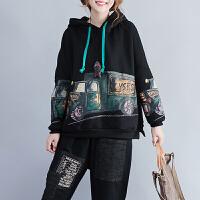 大码孕妇装上衣服200斤外套潮 韩版秋冬装长袖卫衣宽松减龄带帽衫