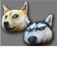 大号3D神烦狗办公室秋田犬毛毯哈士奇抱枕午睡枕抱枕被子两用定制