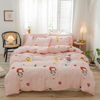 【每满100减50】全棉四件套纯棉床单少女公主风1.5m1.8米床条纹床上被套1.2米学生宿舍
