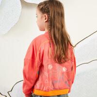 马拉丁童装女大童外套春装2020新款洋气图案红色卫衣短外套
