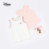 【79元3件专区】迪士尼童装梦幻童年女童针织罗纹圆领背心夏季上衣新款