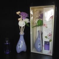 陶瓷无火藤条香薰套装植物精油挥发家居办公室卧室内厕所客厅香水 花瓶+香水+藤条