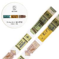 kinbor手帐本和纸胶带25mm*10m手账本贴纸复古款 旅行票集DTB64141当当自营