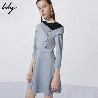 Lily冬新款女装商务假两件收腰不规则斜领连衣裙118440C7515