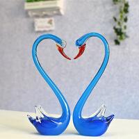 琉璃天鹅新房装饰品动物小摆件水晶玻璃工艺品送情人创意结婚礼物