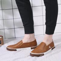 2018男士皮鞋四季板鞋韩版低帮一脚蹬懒人鞋商务休闲鞋男鞋